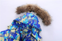 2~7Y Children Russian Winter Camouflag Real Racoon Fur Duck Down Clothing Set Jacket for Girls Outwear Boys Outdoor Ski Snowsuit