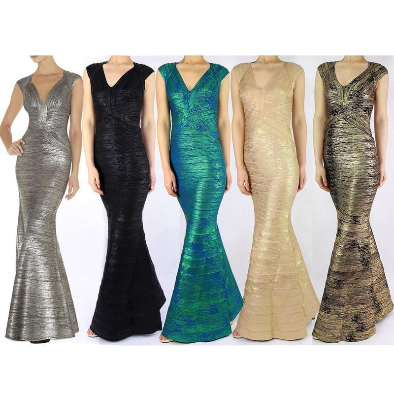 Kadın Giyim'ten Elbiseler'de Toptan yeni uzun elbise Yüksek kalite çeşitli renkler V Yaka Ince Streç maxi elbise Bandaj elbise (H0454)'da  Grup 1