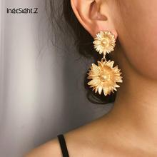 IngeSight.Z 2019 Korean Gold Color Metal Sunflower Drop Earrings Statement Big Floral Dangle Earrings for Women Jewelry Brincos цена в Москве и Питере