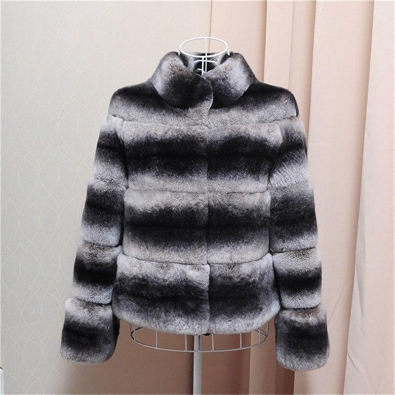 New Rex Real Rabbit Fur Coats for Women Winter Rabbit Fur Warm Coat High Quality Female Full Pelt Striped Luxury Jacket C#6