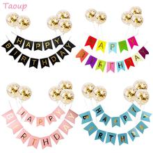 Taoup 1set Paper Happy Birthday Banner Fabric Gold Confetti Balloons Party Decors Kids Adults Supplies DIY