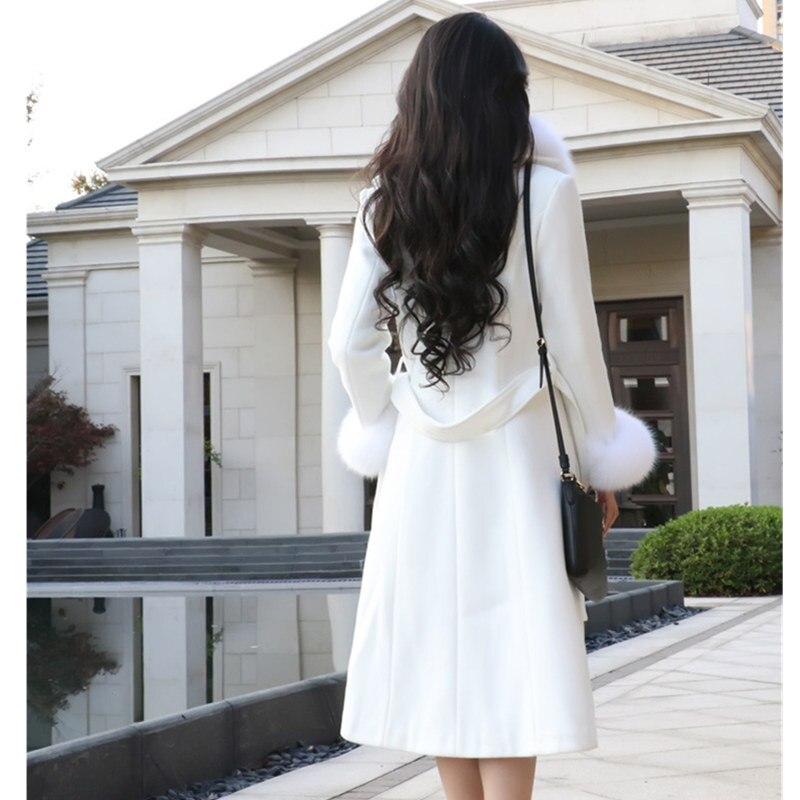 White Woolen Coat Women Overcoat Korean Autumn High Quality Faux Fox Fur Collar Warm Long Wool Coat Fashion Winter Jacket Women
