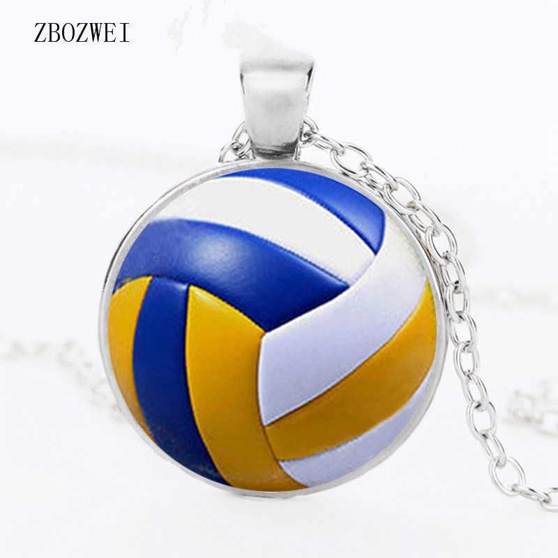 Collar con colgante de voleibol Retro para hombre, cadena antigua con bola de articulación, jugador de voleibol, accesorios, collar