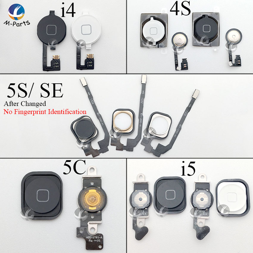 For IPhone 4 4S 5 5S 5C SE Home Button With Flex Cable Menu Button Key Cap High Quality 100% New OEM Screen Control Repair