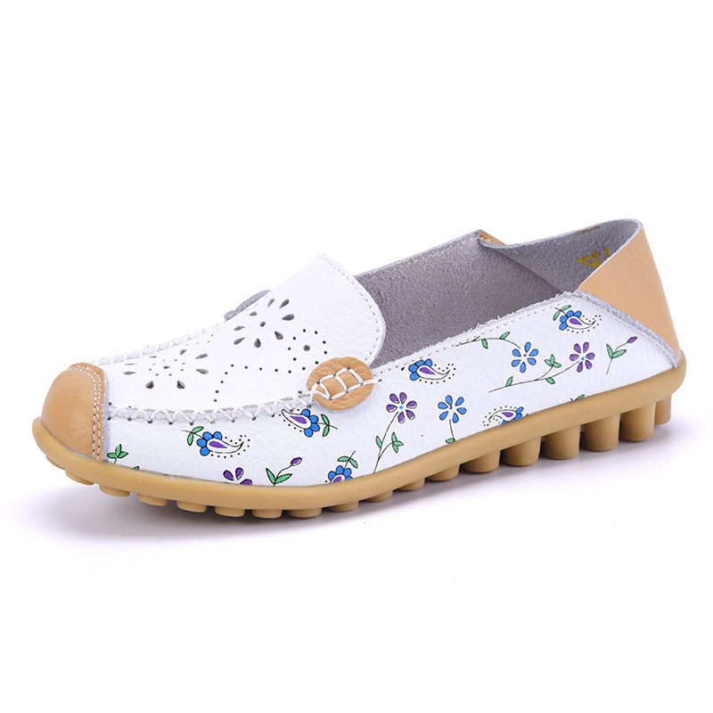 Women Summer Ballet Flats Genuine Leather Moccasins Hollow Loafers Square Toe Slip On Flower Casual Ladies Shoes Size 35-44 genuine leather women ballet flats summer loafers moccasins woman slip on folding antiskid casual shoes ballerina size 34 44