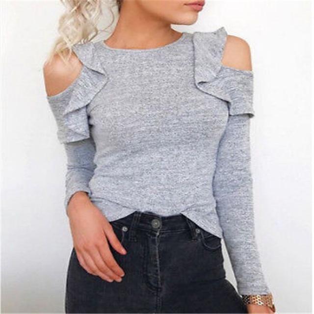 9de756116 € 8.16 |Moda mujer ropa otoño damas de algodón hombro superior abierta sexy  Ruffles camisa de manga larga mujeres sueltas casual sólido Camisas ...