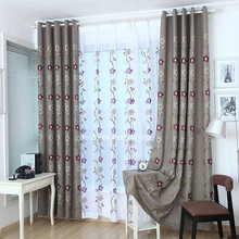 Linen Cotton Pure Colour Embroidery Flower Thickened Shading Curtains for Living Dining Room Bedroom Flowers
