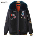 vancol designer womens coats doudoune luxe femme fashion patch designs winter bomber jacket women 2016 female cotton down parka