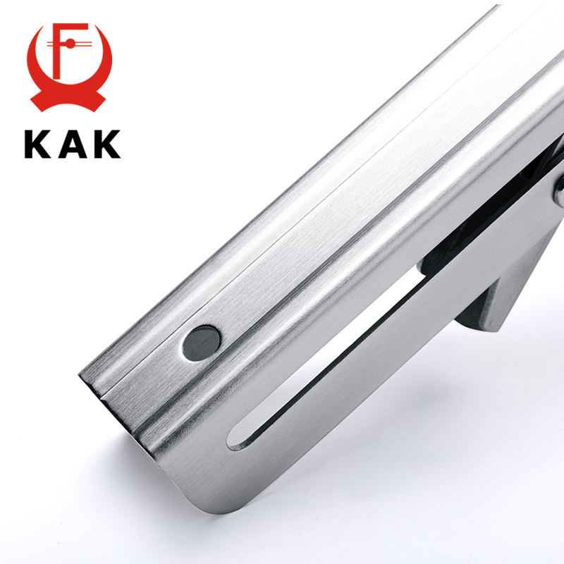 Image 5 - KAK 2PCS Folding Triangle Bracket Stainless Steel Shelf Support Adjustable Shelf Holder Wall Mounted Bench Table Shelf Hardware-in Brackets from Home Improvement