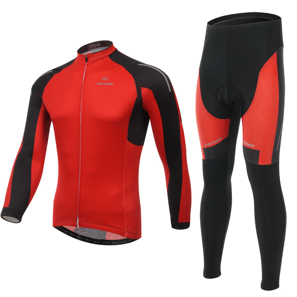 XINTOWN Yanqi red riding gear Jersey long sleeve suit bicycle suits spring autumn moisture perspiration quick-drying underwear