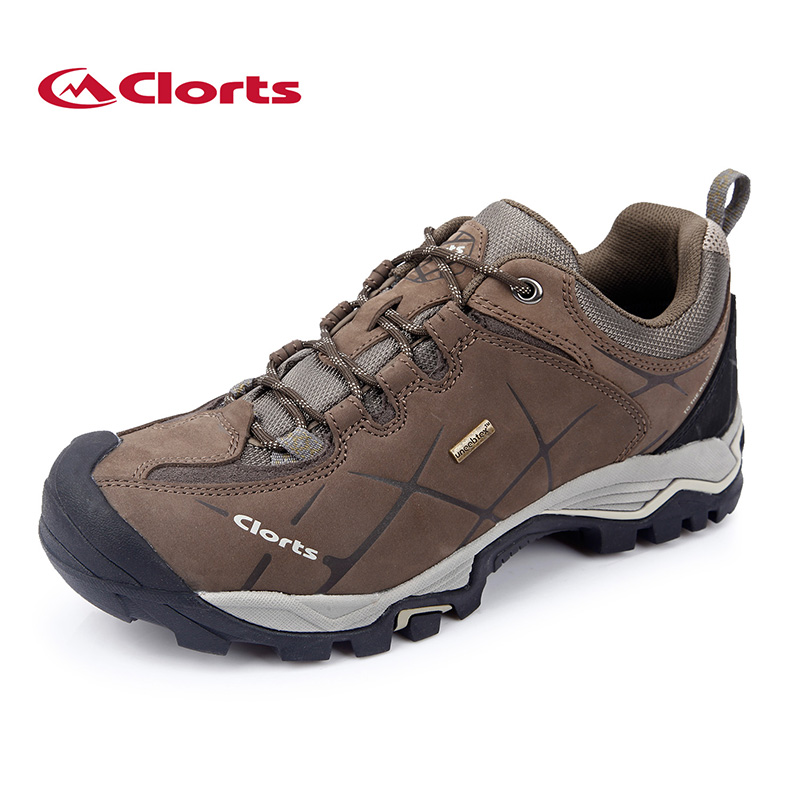 ФОТО 2016 Clorts Hiking Shoes for Male Real Leather Non-slip Outdoor Hiking Boots Trekking Shoes Waterproof Sport Sneakers HKL-805A