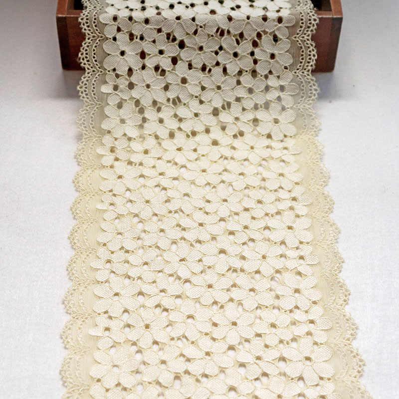 2 metre 18 cm Genişlik Bej Elastik Dantel kumaş süsü Gipür Dikiş Dantel Trim Şerit Iç Çamaşırı Konfeksiyon Elbise Aksesuarları Aplikler