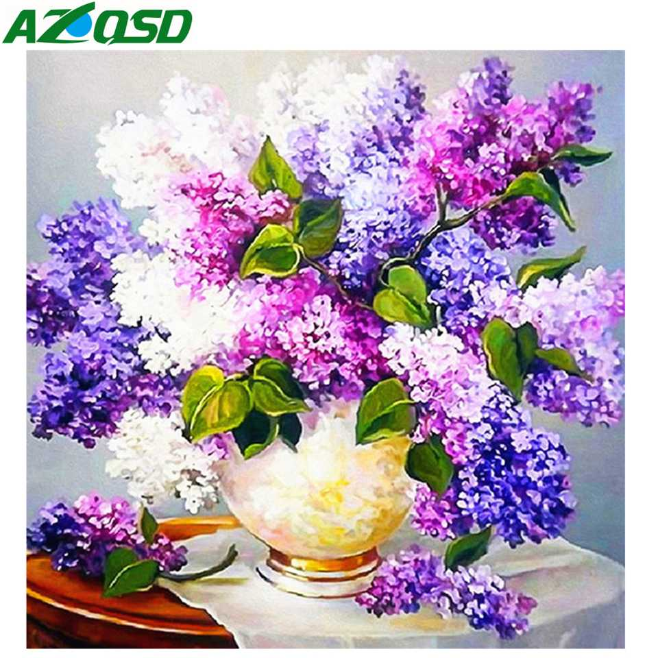 AZQSD Diamond Embroidery Flowers New Diamond Painting 2019 Picture Of Rhinestones Cross Stitch Needlework Home Decoration in Diamond Painting Cross Stitch from Home Garden