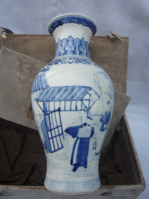 kolekcija Qing dinastijos mėlynos ir baltos porceliano vaza (Pekino - Namų dekoras - Nuotrauka 3