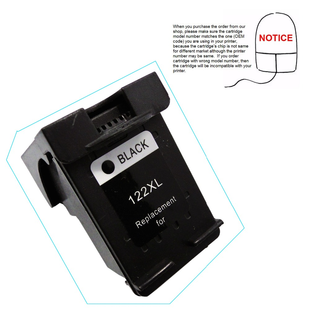 YOTAT Black Replacement ink Cartridge for HP122 <font><b>HP</b></font> <font><b>122</b></font> for <font><b>HP</b></font> Deskjet 1000 1050 2000 2050 2050s 3000 3050 J410a J510a image