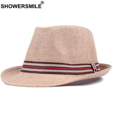 be302158db77f SHOWERSMILE Straw Fedora Hats Women Men Breathable Coffee England Style Sun  Panama Hat Fashion Summer Travel Straw Beach Caps