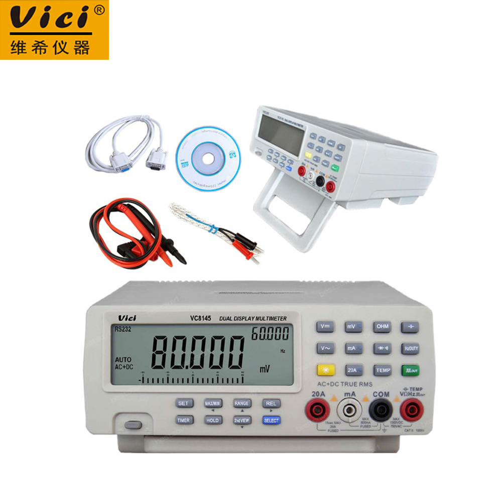 Vici VC8145 DMM Digital Bench Multimeter Temperature Meter Tester PC Analog 80000 counts Analog Bar Graph