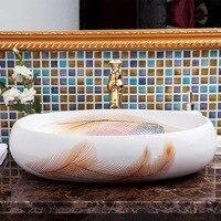 Большой овальный Форма Ванная комната Lavabo Керамика столешницей умывальника ручная роспись раковины