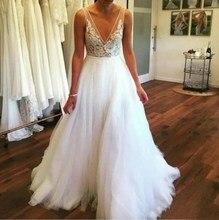 White Long Spaghetti Appliques V Neck Summer Tulle Muslim Robe De Mariee Arabic Wedding Dress Boho Sofuge Vestido Noiva