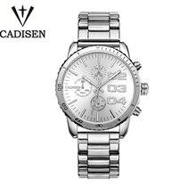 Cadisen Полный Календарь 30Atm Бизнес Desiger Часы Мужчины Нержавеющей Стали Часы Для Мужчин Кварцевые Наручные Часы Движение