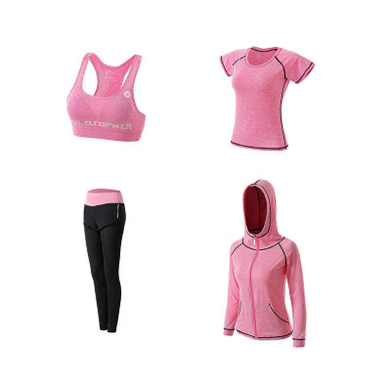 eedafb0799b ... Women Yoga Set Gym Fitness Clothes Tennis Shirt+Pants Running Tight  Jogging Workout Yoga Leggings ...