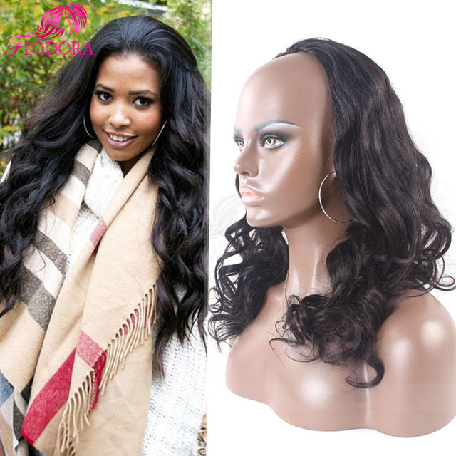Fashion Human Hair Half Wigs Body Wave 3 4 Wig Virgin Brazilian Human Hair  Extensions Wig Remy No Lace Wig For Black Women Sale 10190d6695