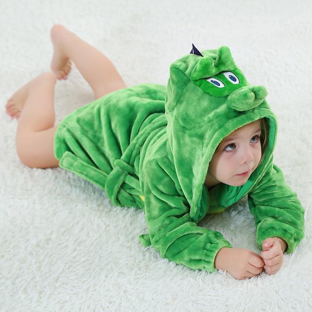 New Born Baby Boy Meninas Bonito Dos Desenhos Animados de Animais Sleepwear Cinto Roupas de Algodão Desgaste Casa de Inverno Vestes Ponto Dinossauro Gato