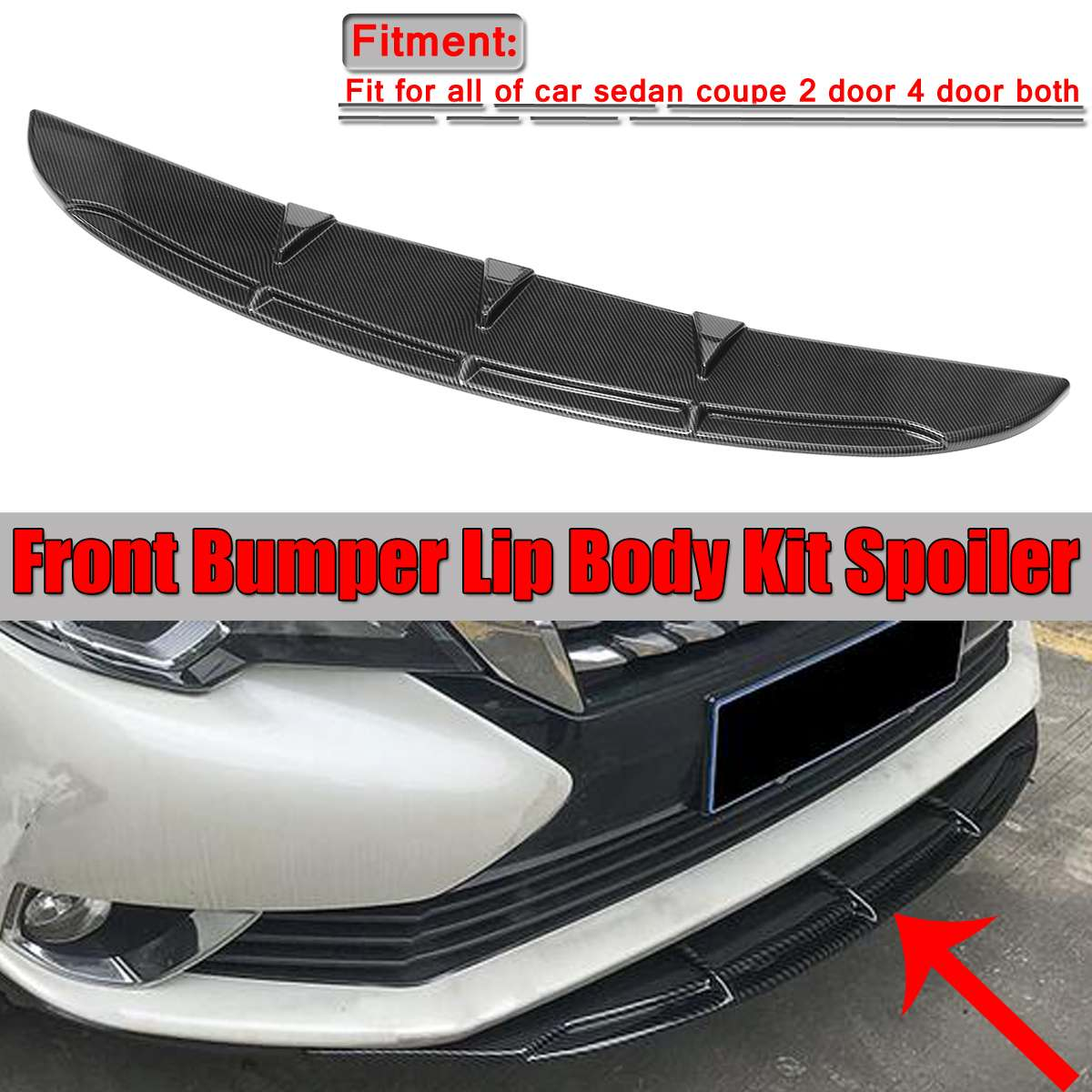 Universal Car Front Bumper Lip Spoiler Diffuser Fins Body Kit Car-styling For Benz For BMW For Mustang Front Bumper Diffuser