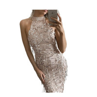 New 2016 Fashion Womens Evening Party Summer Dress Slim Elegant Paillette Tassel Dress Sexy Mesh