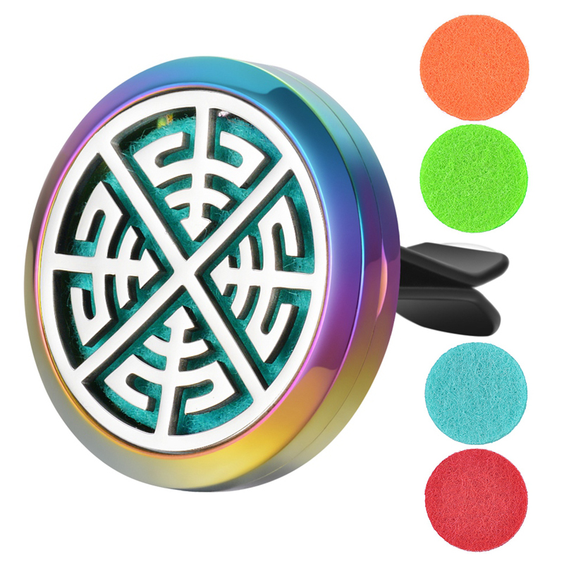 26 Styles Colorful Plating 30mm Stainless Steel Car Air Freshener Perfume For Dropshipping Random Send 5pcs Oil Pads
