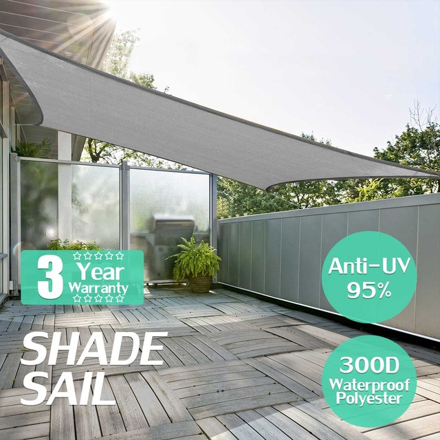 Grey Square 3x3/4x4m Retractable Sun Shade Shelter 160GSM HDPE Farbic Garden Awning Canopy Sunshade