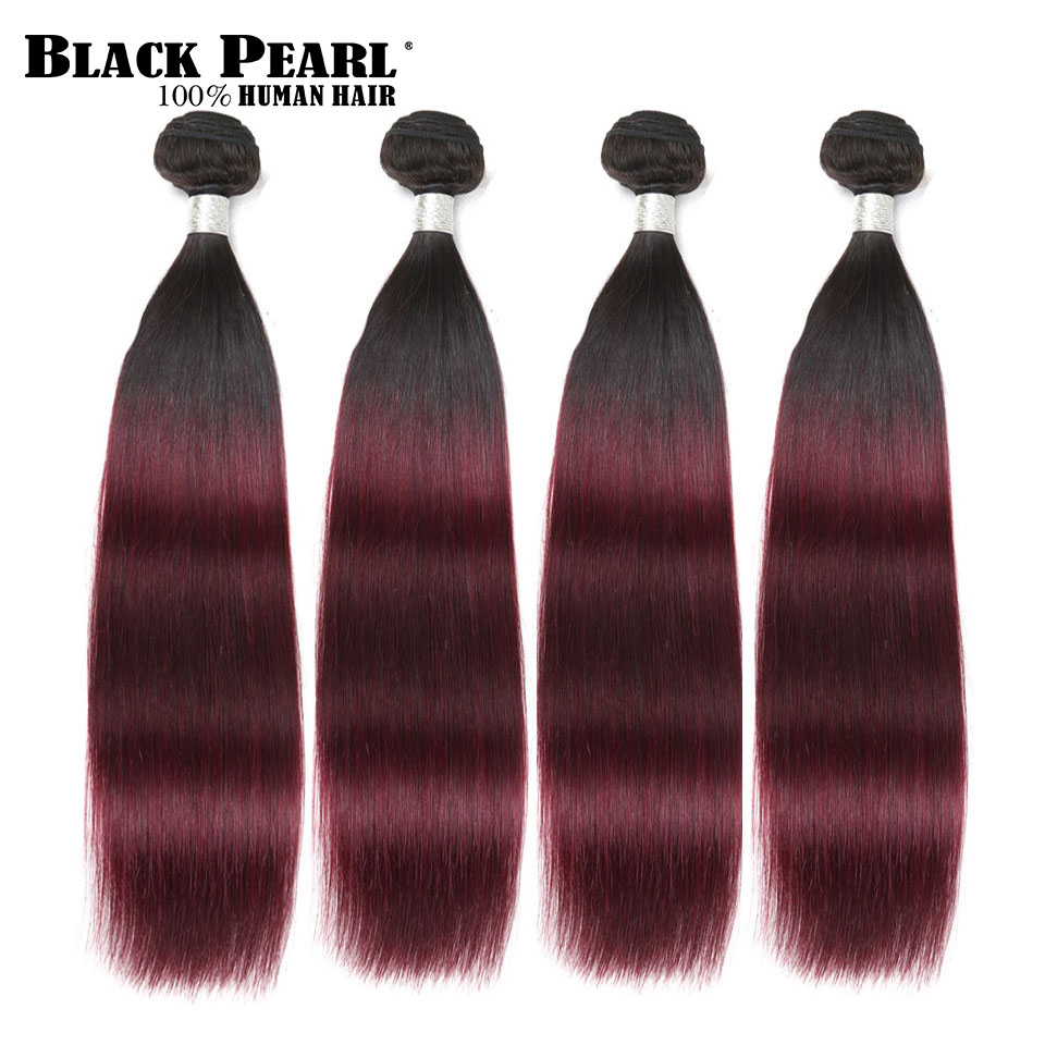Black Pearl Pre-Colored 4 Bundles Human Hair Weave Ombre Wine Red Hair Extensions Brazilian Straight Remy Hair Weft T1b99j