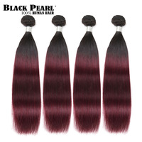 Black Pearl Pre Colored 4 Bundles Human Hair Weave Ombre Wine Red Hair Extensions Brazilian Straight Remy Hair Weft T1b99j
