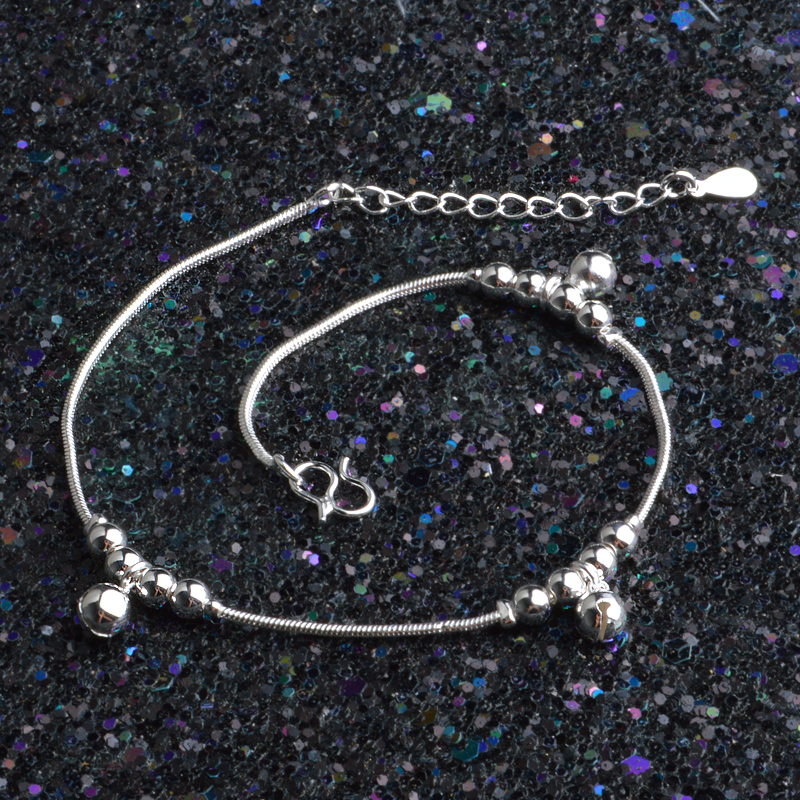 JEXXI Charms Style Silver Anklet for Women Round Beads Ball Foot Anklets Jewelry Barefoot Sandals Accessories