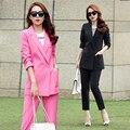 Corea Del Estilo de moda de Invierno Chaqueta de Las Mujeres Blazers Pantalones Trajes Del Color Del Caramelo Blazer Chaquetas Largo Mujer Prendas de Abrigo Moda Mujer Trajes