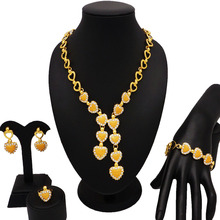 pure gold plating jewelry sets african big set wholesale women necklace  fine