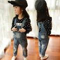 Новогодний подарок, девочка мода детские комбинезоны детские Ковбой подтяжк брюки, детские Девушки Джинсы, девушки джинсы.