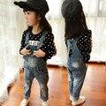 Presente de Ano novo, macacão de moda infantil do bebê da menina Cowboy suspender calças das Crianças, Meninas do bebê calças de Brim, calças de brim das meninas.