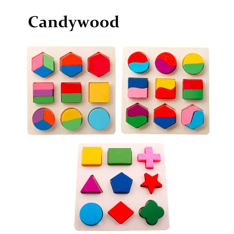 Candywood Colorful Baby Kids Wooden Early Learning Geometry Educational Toys Children Math 3D Shapes Wood Jigsaw Puzzles toy eğitici oyuncak