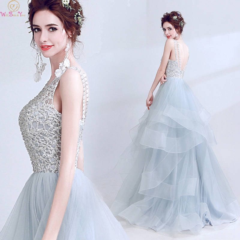 Elegant summer Appliques   Prom     Dresses   2019 New Design A Line Gray Scoop Neck Backless Formal Long Ruffles Evening Party Gowns