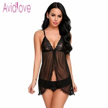 Avidlove Women Sexy Lingerie Babydoll with Panty Floral Lace Open Front  Mesh Chemises V Neck Ruffled Hemline Nightwear