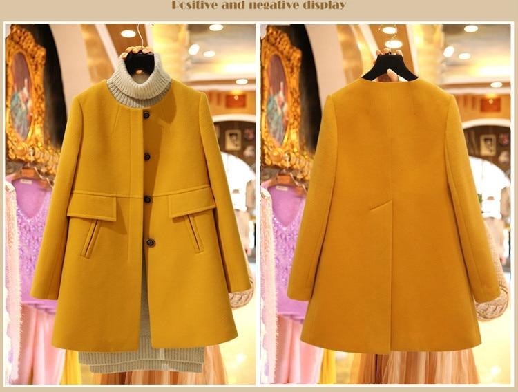 New 19 Spring Autumn Plus Size Wool Coat Women Loose A-aline Long Sleeved O-neck Medium Long Black Yellow Korean Coat Casacos 10