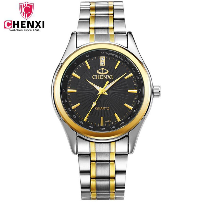 CHENXI Mens Watches Casual Stainless Steel Quartz Bracelet Watch Black Gold Waterproof Wrist Watches Top Luxury Brand Male Clock chenxi men gold watch male stainless steel quartz golden men s wristwatches for man top brand luxury quartz watches gift clock
