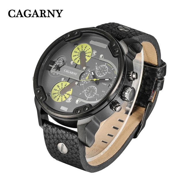 Big Watch Men Military Mens Watches Dual Time Zones Date Quartz Clock Man Leather Analog Sport Relogio Masculino Cagarny D6820