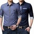 Dropshipping camisa masculina мужская Повседневная С Длинным Рукавом Печати Повседневная Рубашка Slim Fit Мужские Рубашки camisa социальной masculina