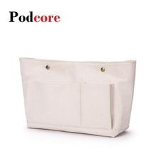 35cm Width Canvas Handbag Organizers Pouch Bags, Sturdy Purse Insert Organizer Bag (35+27)*20*12cm