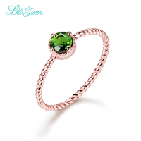 I Zuan 14K Gold Natural 0 72ct Tourmaline Round Prong Setting Trendy Simple Ring Jewelry For