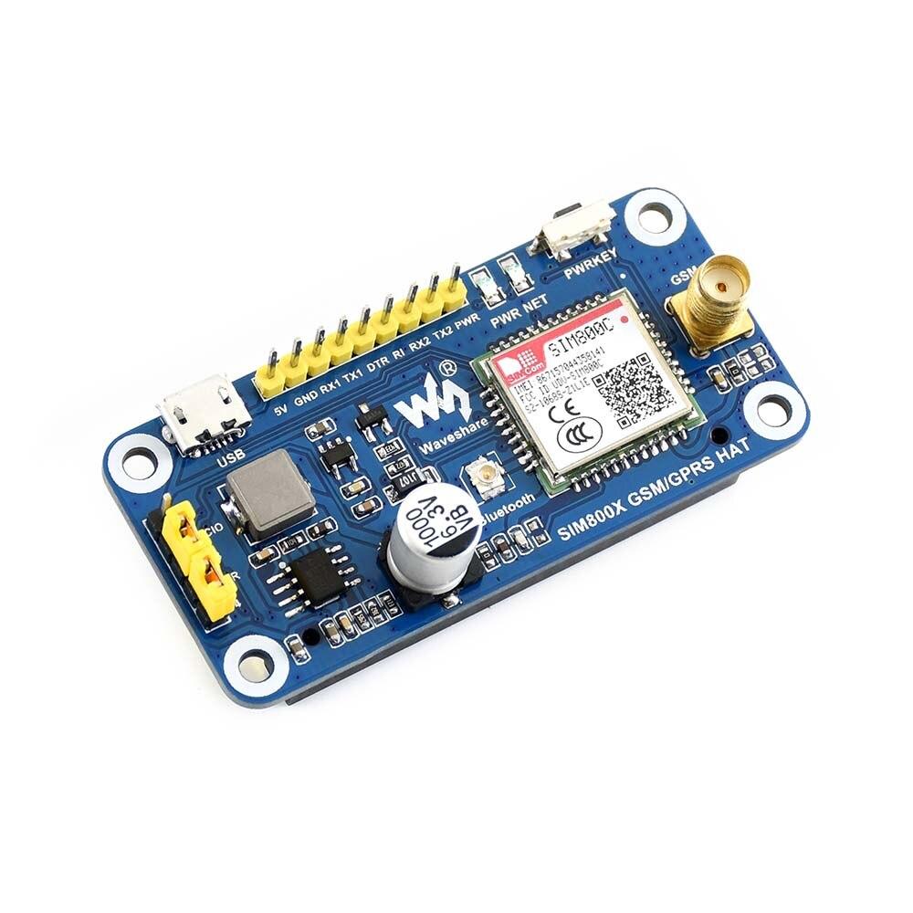 Waveshare GSM/GPRS/Bluetooth HAT For Raspberry Pi,Based On SIM800C,compatible With Raspberry Pi 2B/3B/3B+/Zero/Zero W