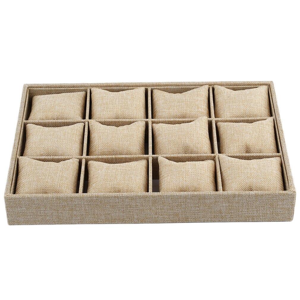 OUTAD 12 rejillas de reloj de pantalla de la caja del contenedor de la joyería del collar de la caja de la joyería con el estilo de la almohada cajas gruesas de cáñamo para relojes