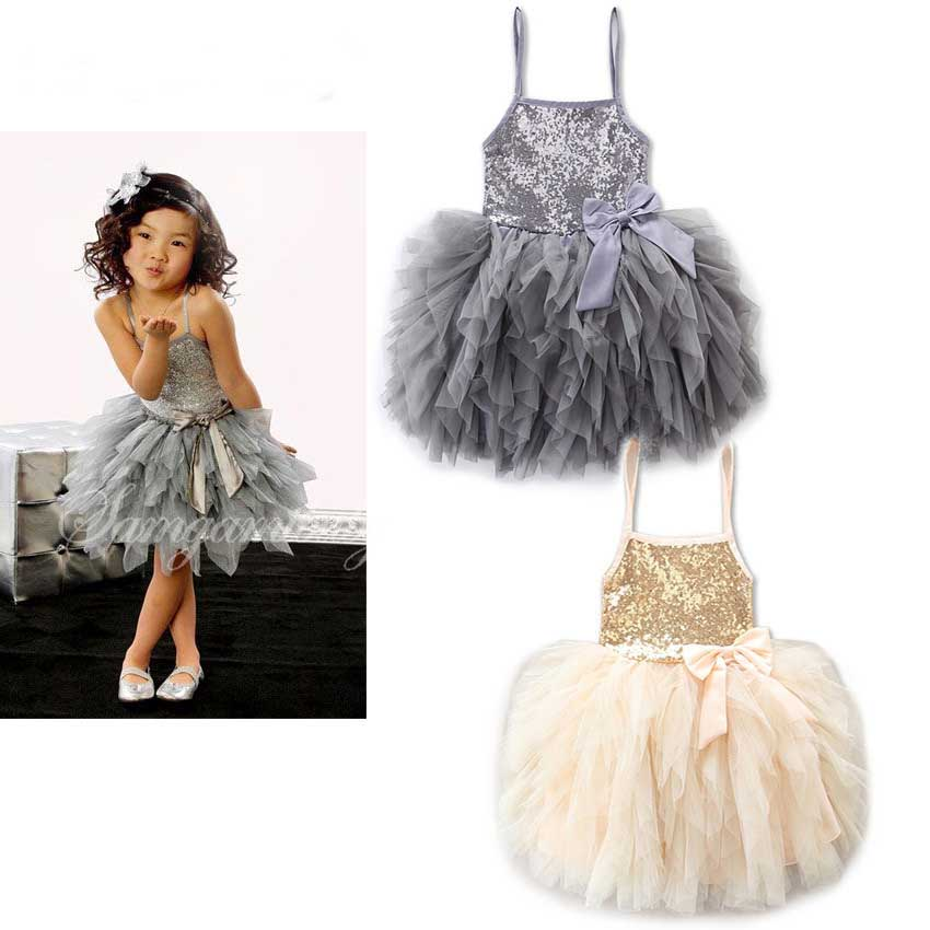 Everweekend Girls Summer Tulle Sequins Party Dress Halter Sundress Beige and Gray Color Princess Holiday Dresses